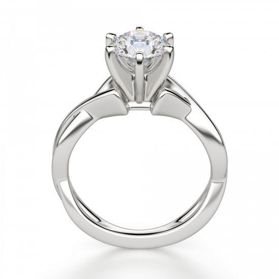 Кольцо перекрученное из белого золота с бриллиантом,  Больше Изображение 2
