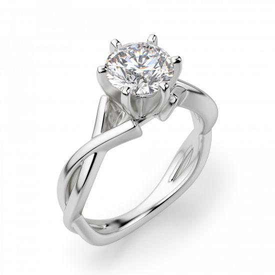 Кольцо перекрученное из белого золота с бриллиантом,  Больше Изображение 3