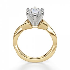 Кольцо перекрученное из золота с бриллиантом