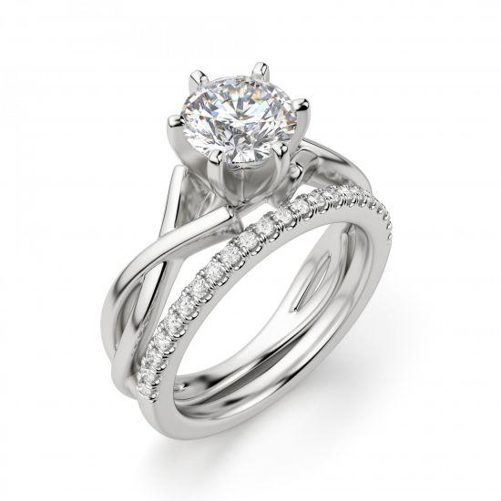 Кольцо перекрученное из белого золота с бриллиантом,  Больше Изображение 5