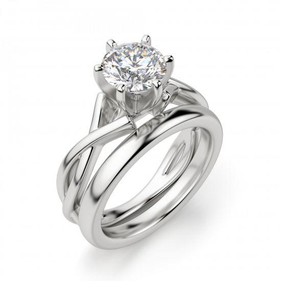 Кольцо перекрученное из белого золота с бриллиантом,  Больше Изображение 6