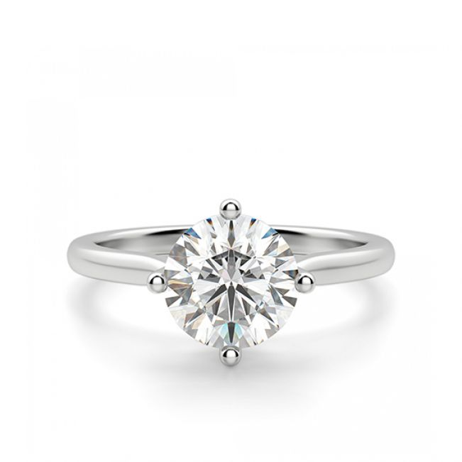 Кольцо с бриллиантом с крапанами по сторонам