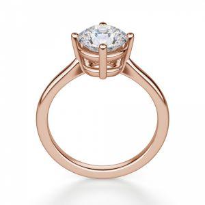 Кольцо из розового золота с бриллиантом в 4 лапках