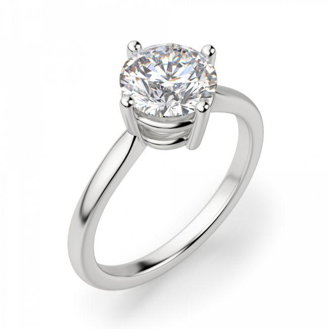 Кольцо с бриллиантом с крапанами по сторонам - Фото 2