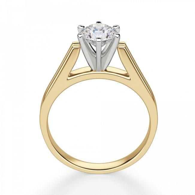 Кольцо с прямоугольной шинкой с бриллиантом - Фото 1