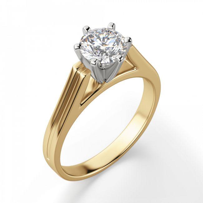 Кольцо с прямоугольной шинкой с бриллиантом - Фото 2