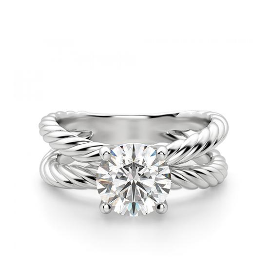 Переплетеное кольцо с круглым бриллиантом, Больше Изображение 1