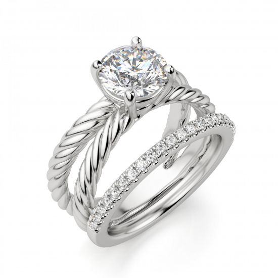 Переплетеное кольцо с круглым бриллиантом,  Больше Изображение 5