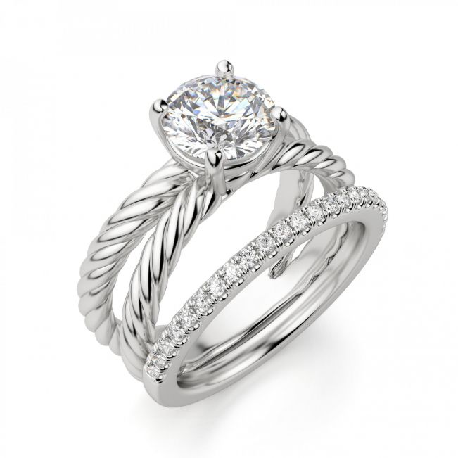 Переплетеное кольцо с круглым бриллиантом