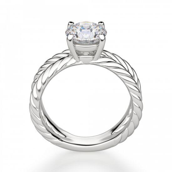 Переплетеное кольцо с круглым бриллиантом,  Больше Изображение 2