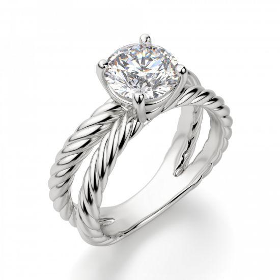 Переплетеное кольцо с круглым бриллиантом,  Больше Изображение 3
