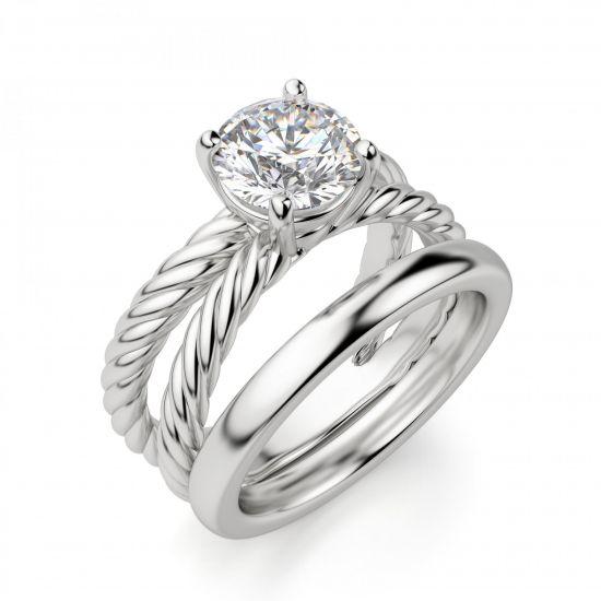 Переплетеное кольцо с круглым бриллиантом,  Больше Изображение 4