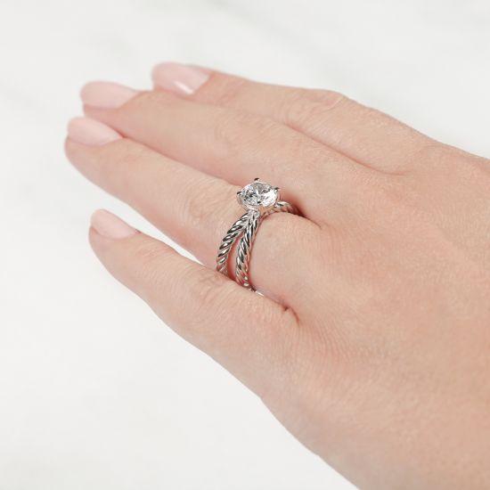 Переплетеное кольцо с круглым бриллиантом,  Больше Изображение 6