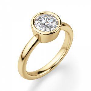 Кольцо с бриллиантом в желтом золоте - Фото 2
