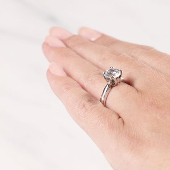 Кольцо с бриллиантом в лепестках,  Больше Изображение 6