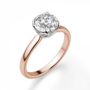 Кольцо солитер с круглым белым бриллиантом