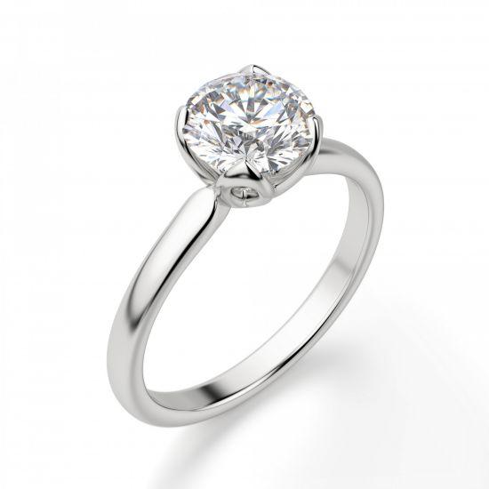 Кольцо с бриллиантом в лепестках,  Больше Изображение 3