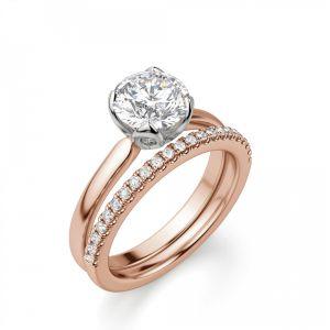 Кольцо с бриллиантом в лепестках из белого золота