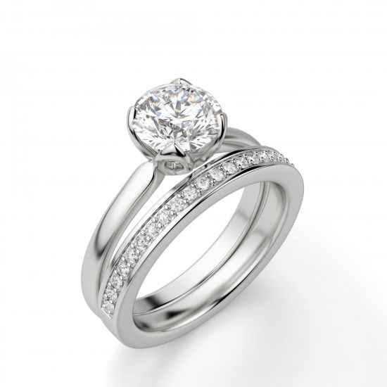 Кольцо с бриллиантом в лепестках,  Больше Изображение 4