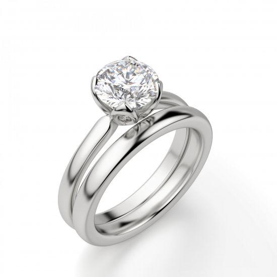 Кольцо с бриллиантом в лепестках,  Больше Изображение 5