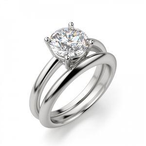 Кольцо тонкое круглое с бриллиантом