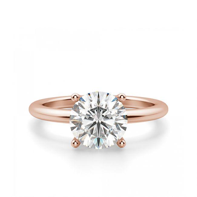 Кольцо тонкое с круглым бриллиантом 1 кт