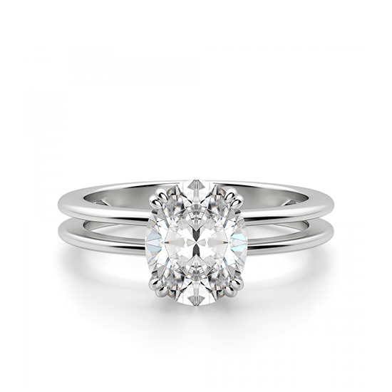 Кольцо двойное солитер с овальным бриллиантом, Больше Изображение 1