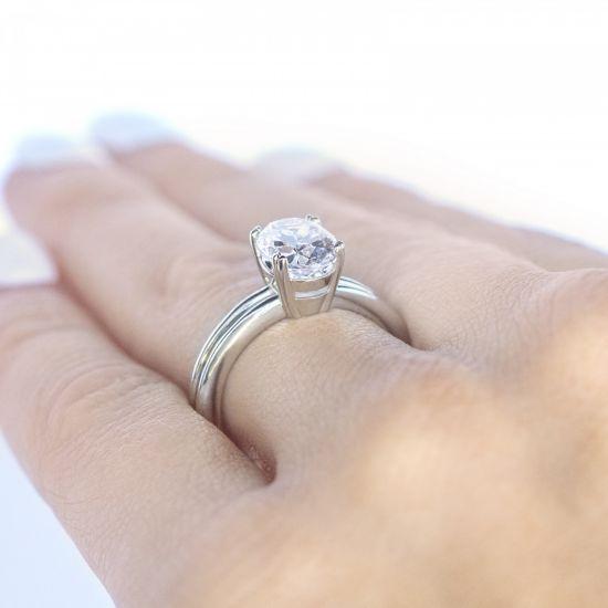 Кольцо двойное солитер с овальным бриллиантом,  Больше Изображение 6
