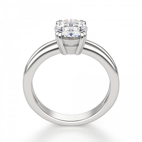 Кольцо двойное солитер с овальным бриллиантом,  Больше Изображение 3