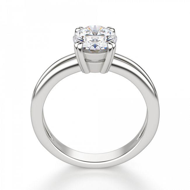 Кольцо двойное солитер с овальным бриллиантом