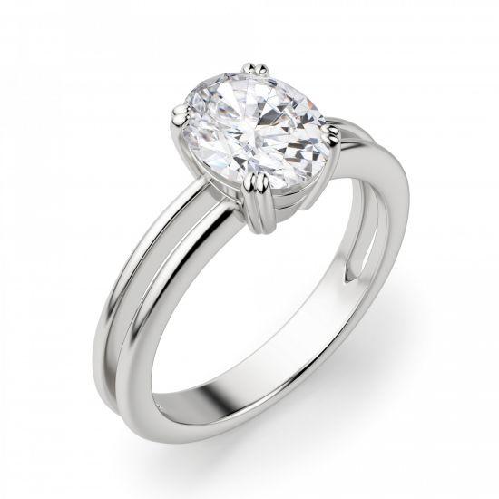 Кольцо двойное солитер с овальным бриллиантом,  Больше Изображение 2