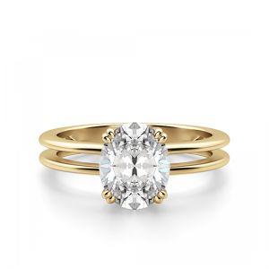 Кольцо солитер с овальным бриллиантом