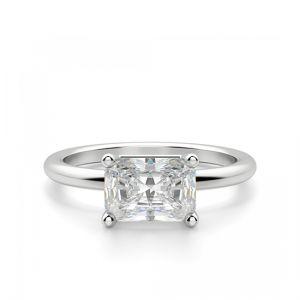 Кольцо с горизоонтальным бриллиантом Радиант
