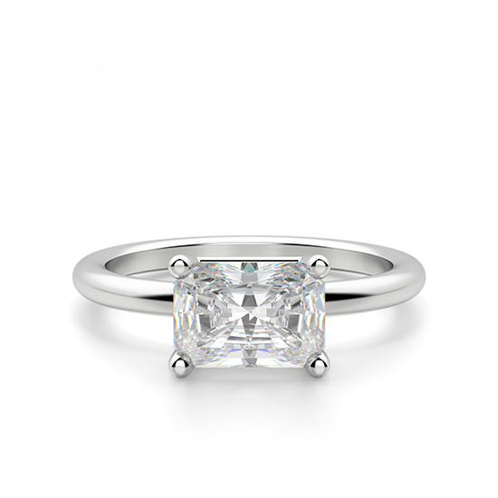 Кольцо с горизоонтальным бриллиантом Радиант, Больше Изображение 1