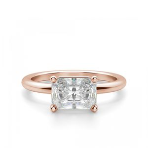 Кольцо солитер с белым бриллиантом огранки «изумрудная»