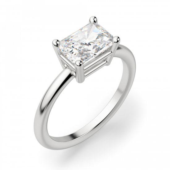 Кольцо с горизоонтальным бриллиантом Радиант,  Больше Изображение 3