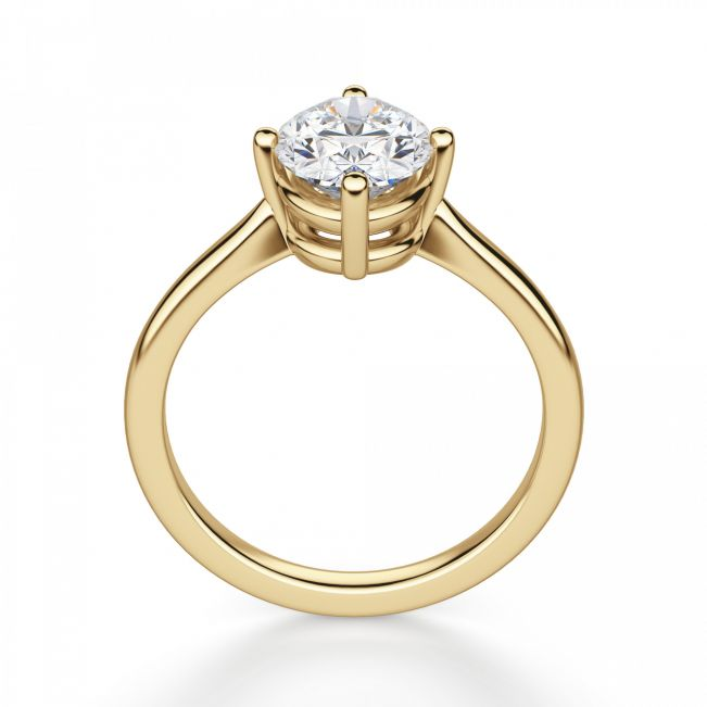 Кольцо с овальным бриллиантом в 4 лапках - Фото 2