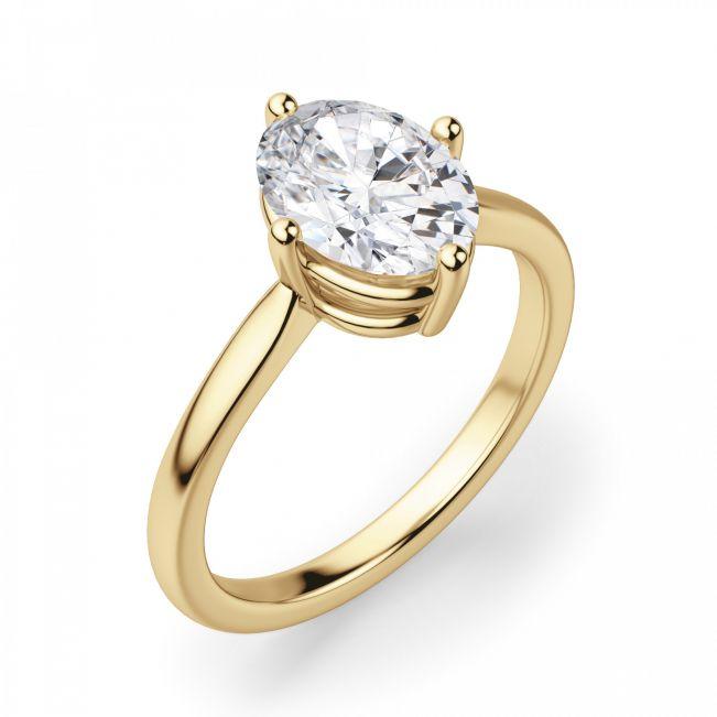 Кольцо с овальным бриллиантом в 4 лапках - Фото 1