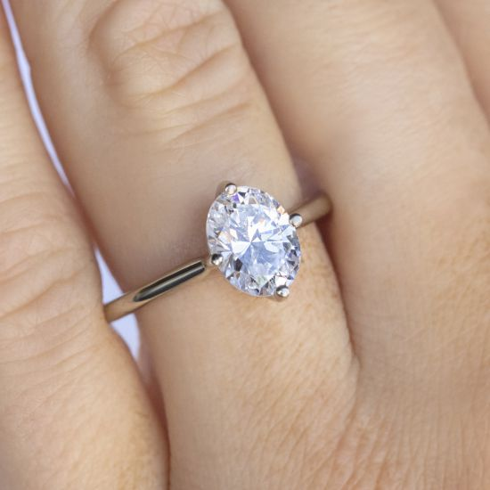 Кольцо с овальным бриллиантом в 4 лапках,  Больше Изображение 5