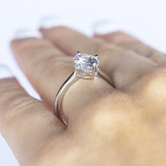 Кольцо с овальным бриллиантом в 4 лапках,  Больше Изображение 6