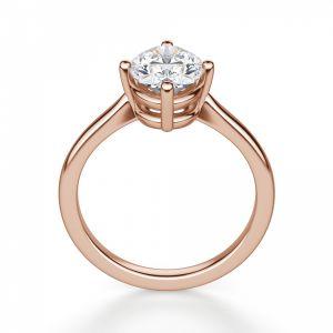 Кольцо из розового золота с овальным бриллиантом