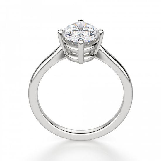 Кольцо с овальным бриллиантом в 4 лапках,  Больше Изображение 3