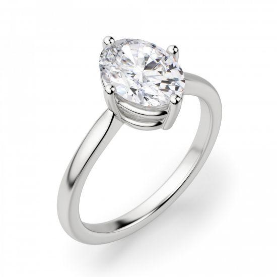 Кольцо с овальным бриллиантом в 4 лапках,  Больше Изображение 2