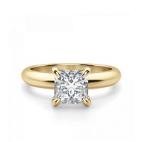 Кольцо с бриллиантом Принцесса 0.41 карата из желтого золота 750 пробы
