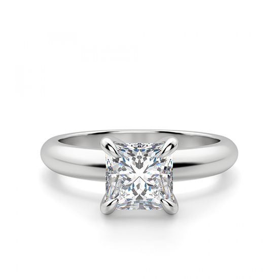 Кольцо с бриллиантом Принцесса из белого золота, Больше Изображение 1