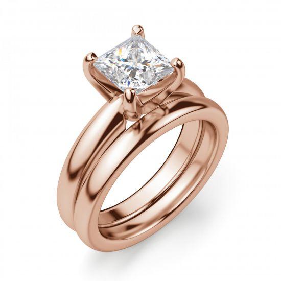 Кольцо с бриллиантом Принцесса из золота,  Больше Изображение 5