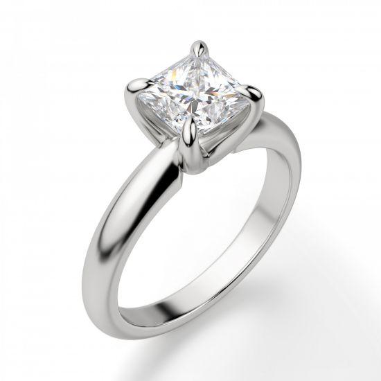 Кольцо с бриллиантом Принцесса из белого золота,  Больше Изображение 4