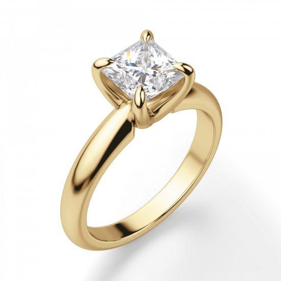 Кольцо с бриллиантом Принцесса классика,  Больше Изображение 4
