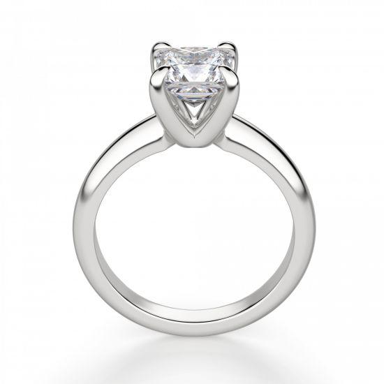 Кольцо с бриллиантом Принцесса из белого золота,  Больше Изображение 3