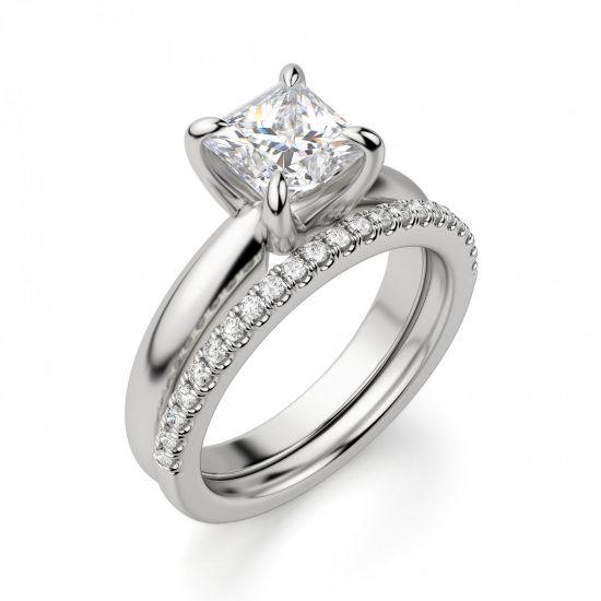 Кольцо с бриллиантом Принцесса из белого золота,  Больше Изображение 2